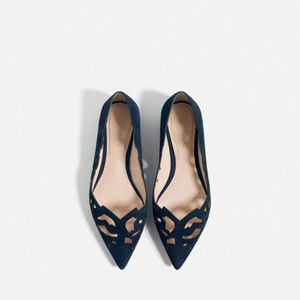 Zara Women Blue Velvet Pointed Die Cut Flats